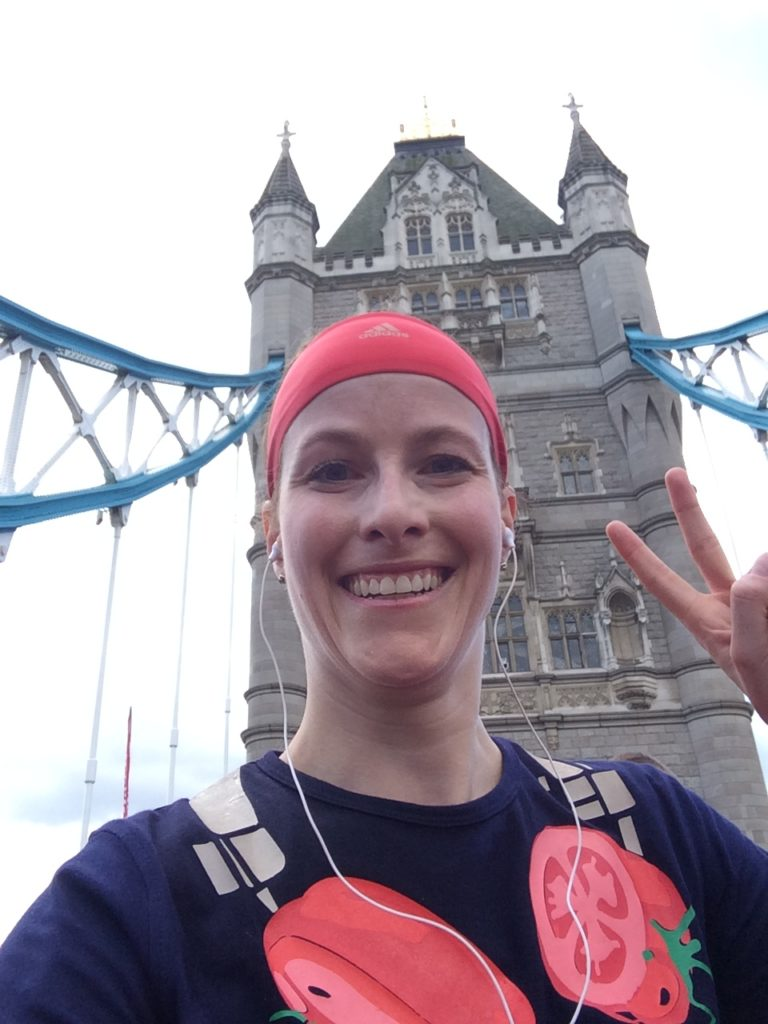 Running over the Tower Bridge at London Marathon